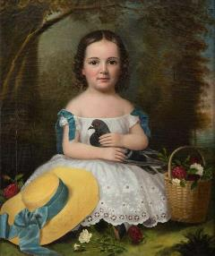 painting of young girl in white dress with pigeon and yellow hat by a tree