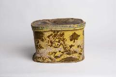 oval-shaped yellow metal box with lid