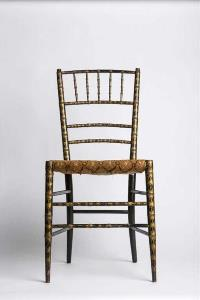 front picture of decorated wooden chair