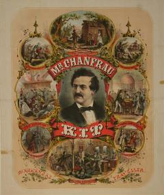 colored poster of images of buildings and people surrounding headshot of man in tuxedo with mustache