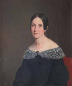 headshot painting of woman in dress with dark hair