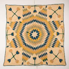 yellow, green, blue, and tan 8-point star of bethlehem quilt