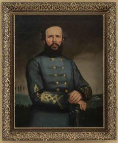 portrait painting of man in grey blue uniform with arm crossed
