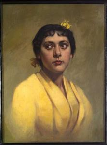 headshot painting of woman wearing yellow